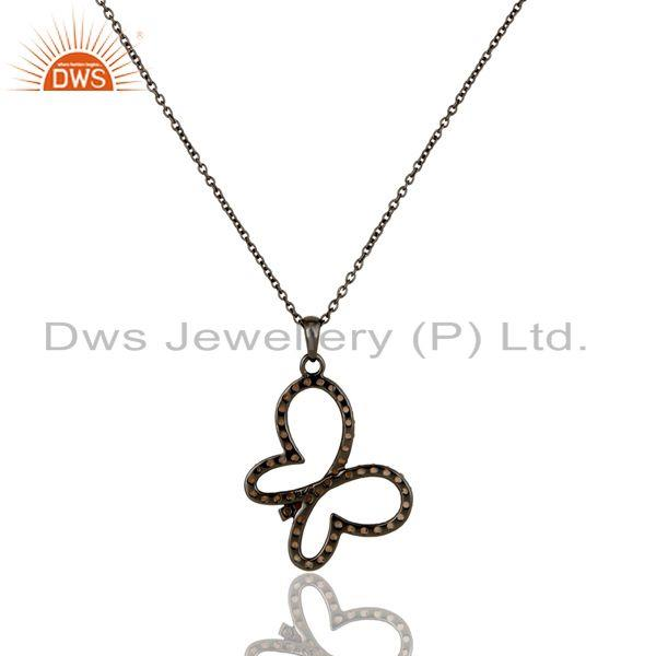 Exporter Spessartite Set 18K Gold Plated Sterling Silver Butterfly Chain Pendant Necklace
