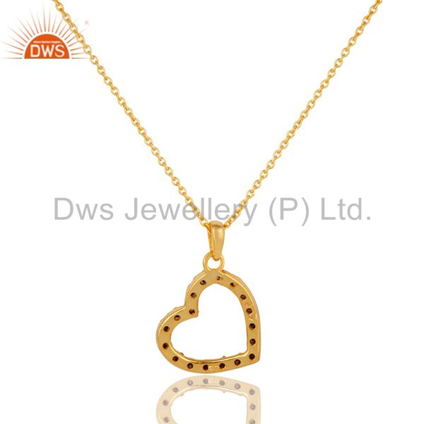 Exporter Pave Diamond Set Heart Shape 18K Gold Plated Sterling Silver Pendant Necklace