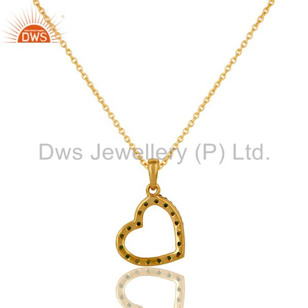 Exporter Tsavourite Heart Shape 18K Gold Plated Sterling Silver Pendant Necklace