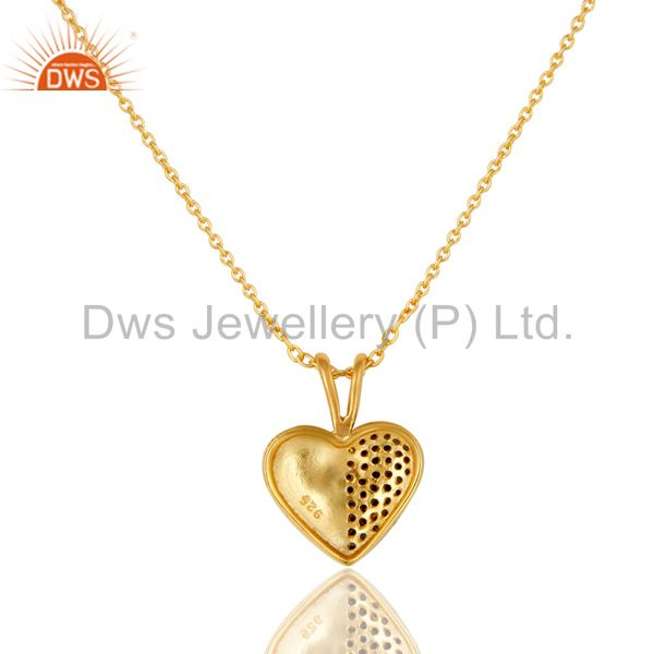 Exporter Blue Sapphire 18K Gold Plated Sterling Silver Heart Shape Pendant Necklace