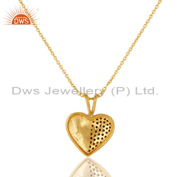 Exporter Green Tourmaline 18K Gold Plated Sterling Silver Heart Shape Pendant Necklace