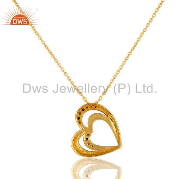 Exporter 18K Gold Plated Sterling Silver Diamond Heart Shape Pendant Necklace