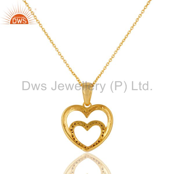 Exporter Heart Shape Diamond and 18K Gold Plated Sterling Silver Pendant Necklace