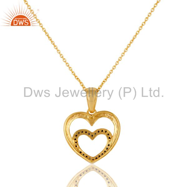 Exporter Heart Shape Blue Sapphire and 18K Gold Plated Sterling Silver Pendant Necklace