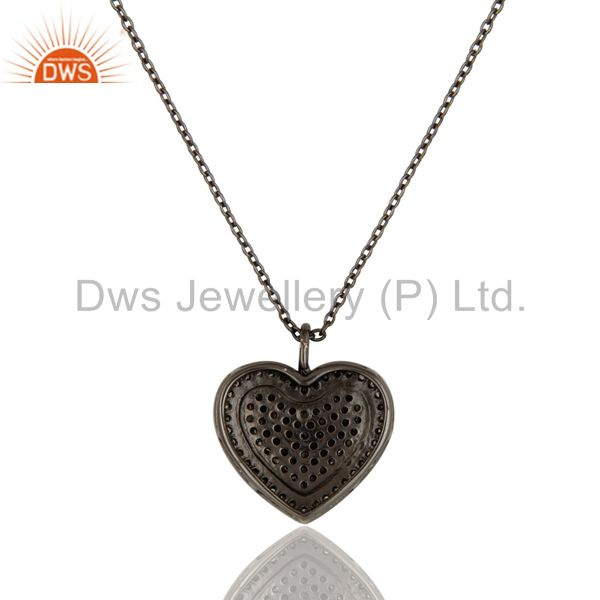 Exporter Black Oxidized Sterling Silver Diamond Heart Design Chain Pendant Necklace