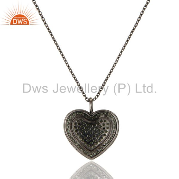 Exporter Tsavourite Heart Shape Pendant 925 Sterling Silver Necklace