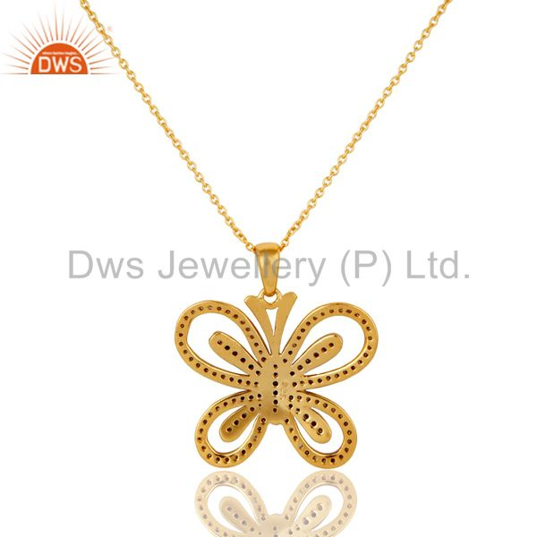 Exporter Diamond and 18K Gold Plated Sterling Silver Butterfly Pendant Necklace