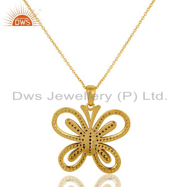 Exporter Tsavourite and 18K Gold Plated Sterling Silver Butterfly Pendant Necklace