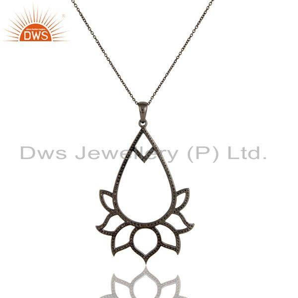Exporter Black Oxidized Sterling Silver Diamond Lotus Design Chain Pendant Necklace
