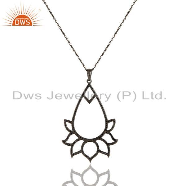 Exporter Black Oxidized Sterling Silver Blue Sapphire Lotus Style Chain Pendant Necklace