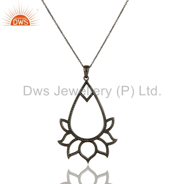 Exporter Black Oxidized Sterling Silver Tsavourite Lotus Style Chain Pendant Necklace