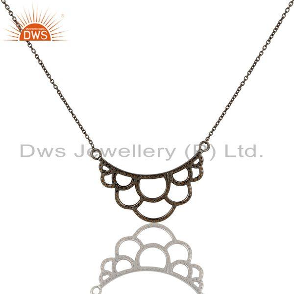 Exporter Black Oxidized with Spessartite Cut Sterling Silver Crown Pendant Necklace