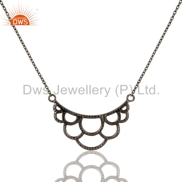 Exporter Black Oxidized with Pink Tourmaline Sterling Silver Crown Pendant Necklace