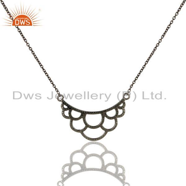 Exporter Black Oxidized With Tsavourite Sterling Silver Crown Chain Pendant Necklace