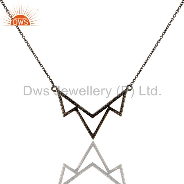 Exporter Black Oxidized with Spessartite Sterling Silver Crown Chain Pendant Necklace
