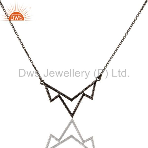 Exporter Black Oxidized with Pink Tourmaline Sterling Silver Crown Chain Pendant Necklace