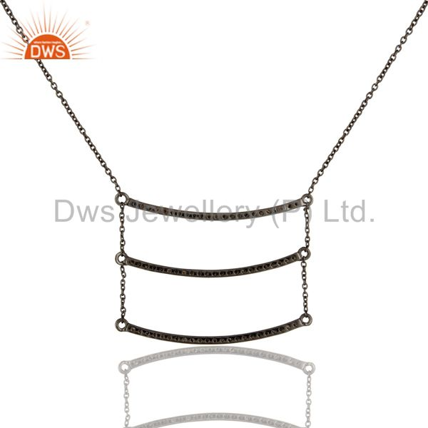 Exporter Black Oxidized Celebrity Style Sterling Silver Diamond Chain Pendant Necklace