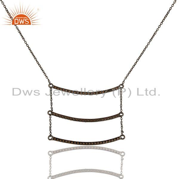 Exporter Black Oxidized Celebrity Style Sterling Silver Spessartit Chain Pendant Necklace