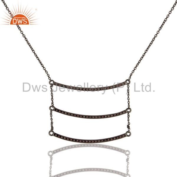Exporter Black Oxidized Sterling Silver Celebrity Style Tourmaline Chain Pendant Necklace
