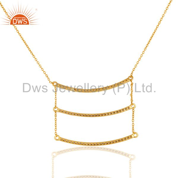 Exporter 18K Gold Plated Sterling Silver Celebrity Style Tanzenite Chain Pendant Necklace
