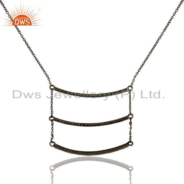 Exporter Black Oxidized Celebrity Style Sterling Silver Tsavourite Chain Pendant Necklace
