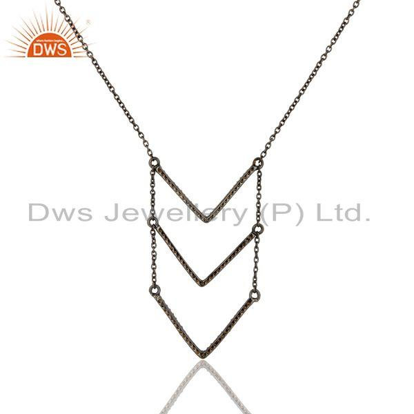 Exporter Black Oxidized Good Looking Sterling Silver Spessartite Chain Pendant Necklace