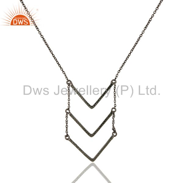 Exporter Black Oxidized Good Looking Sterling Silver Tsavourite Chain Pendant Necklace