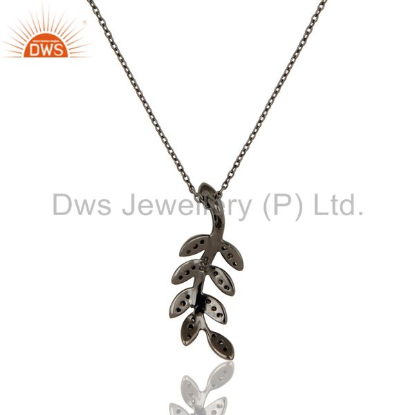 Exporter 925 Sterling Silver Handmade Oxidized Leaf Design Pave Diamond Pendant Jewelry