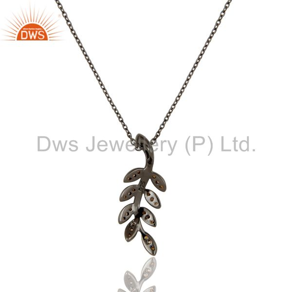 Exporter Black Oxidized With Spessartite Leaf Design Sterling Silver Pendant Necklace