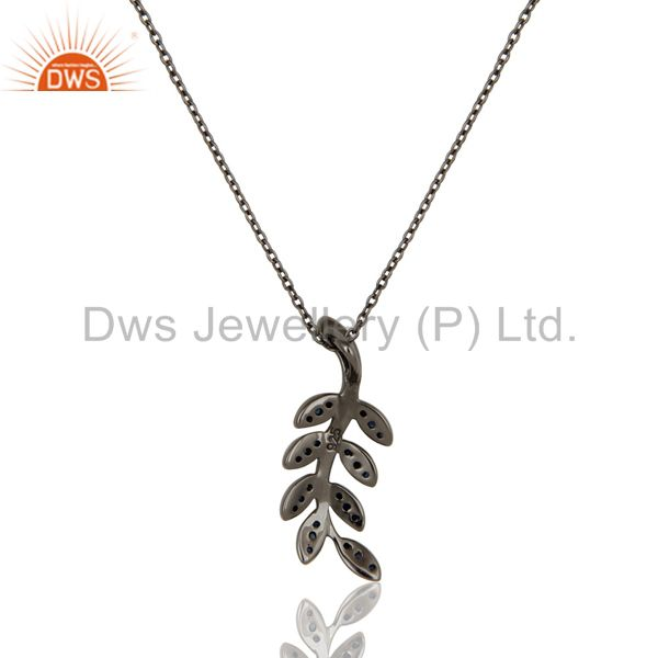 Exporter Black Oxidized With Blue Sapphire Leaf Design Sterling Silver Pendant Necklace