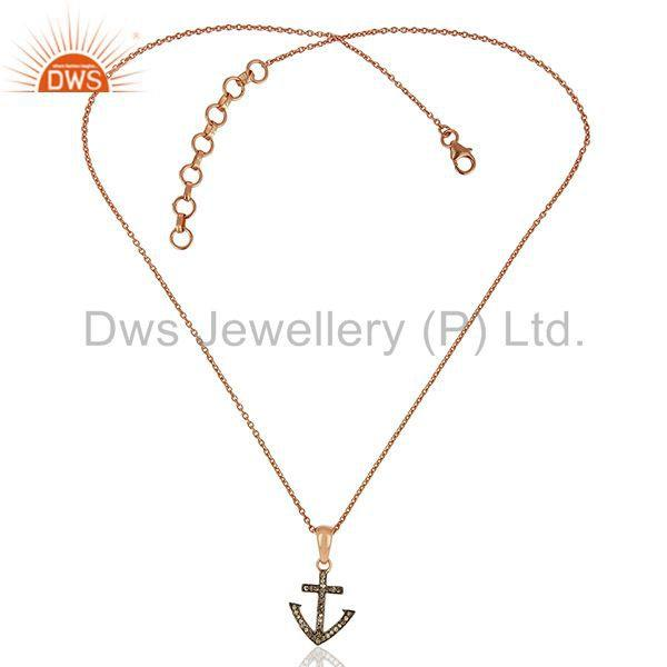 Exporter Pave Diamond Anchor Charm Sterling Silver Pendant Supplier Jewelry