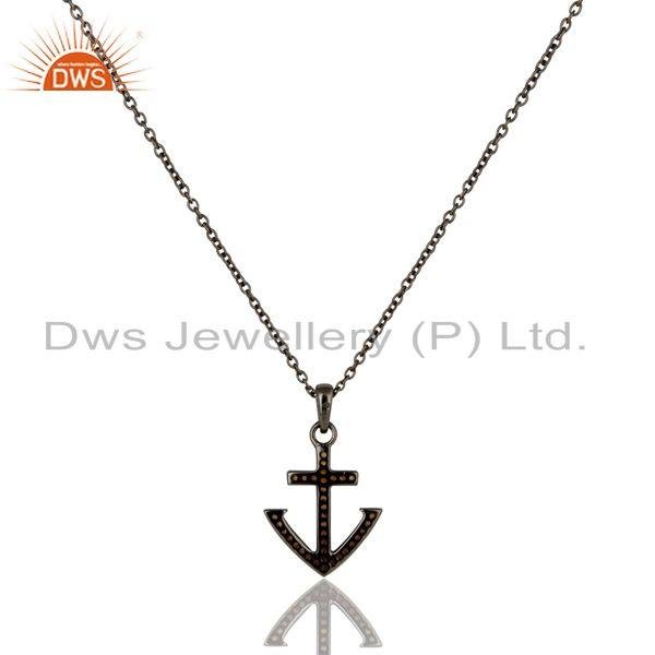Exporter Oxidized With Spessartite Christmas Design Sterling Silver Pendant Necklace