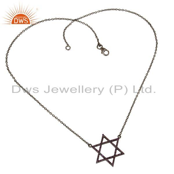 Exporter Black Oxidized With Amethyst Star Design Sterling Silver Pendant Necklace