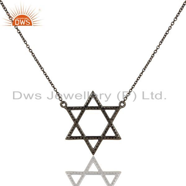 Exporter Diamond Cut Star Design Oxidized Sterling Silver Chain Pendant Necklace