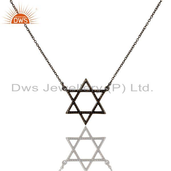 Exporter Spessartite Cut Star Style Oxidized 925 Sterling Silver Chain Pendant Necklace