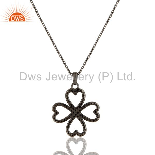Exporter Black Oxidized With Diamond Flower Design Sterling Silver Pendant Necklace