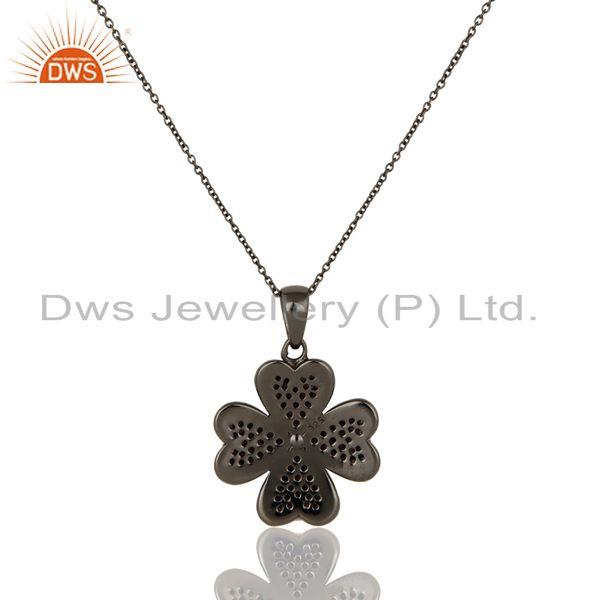 Exporter Amethyst Cut Flower Design With Oxidized Sterling Silver Chain Pendant Necklace