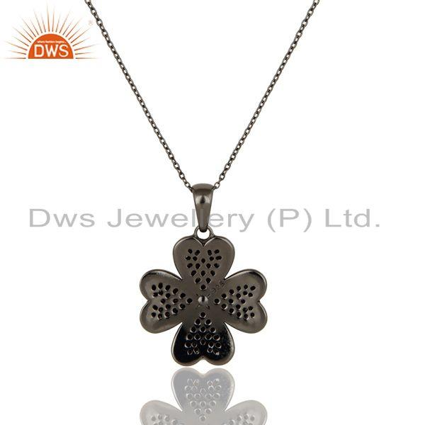 Exporter Diamond Cut Flower Design With Black Oxidized Sterling Silver Pendant Necklace
