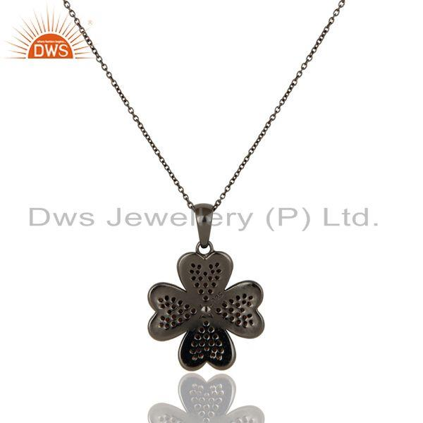Exporter Spessartite Cut Flower Design With Oxidized Sterling Silver Pendant Necklace