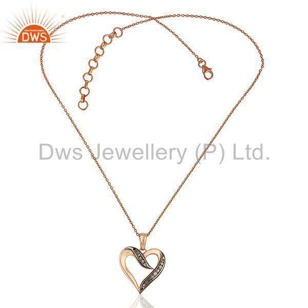 Exporter New Heart Shape Pave Diamond Sterling Silver Chain Pendant Jewelry