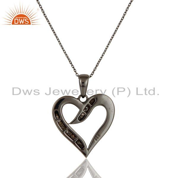 Exporter Heart Design Sterling Silver Pendant Necklace With Black Oxidized and Diamond