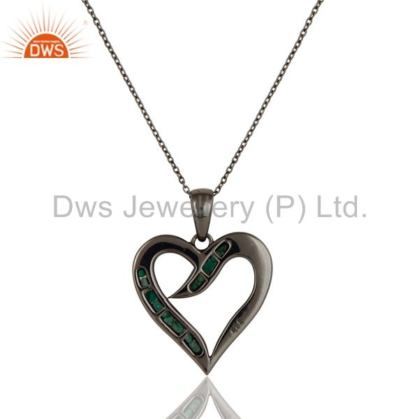 Exporter Heart Design Sterling Silver Pendant Necklace With Black Oxidized and Emerald