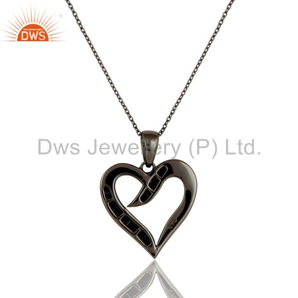 Exporter Heart Design Sterling Silver Pendant Necklace With Oxidized and Blue Sapphire