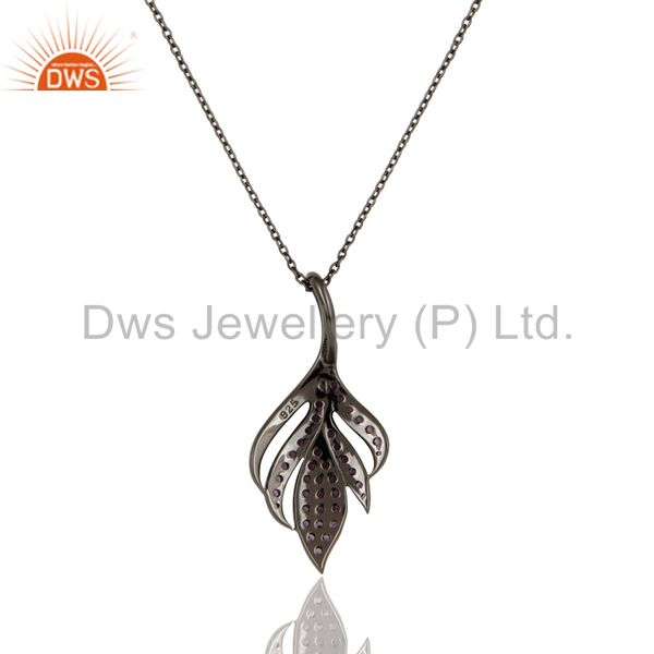 Exporter Black Oxidized 925 Sterling Silver Round Cut Amethyst Chain Pendant Necklace