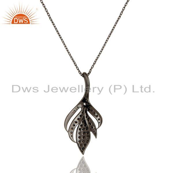 Exporter Black Oxidized with Diamond Cut 925 Sterling Silver Pendant Necklace