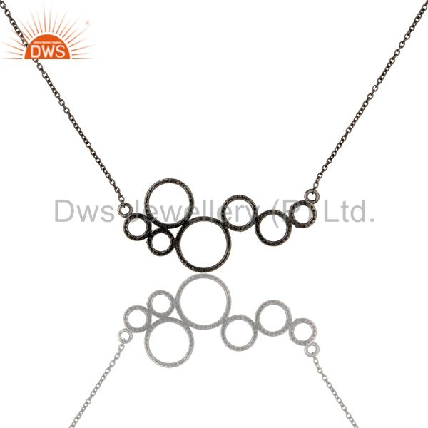 Exporter Black Oxidized with Diamond 925 Sterling Silver Chain Pendant Necklace
