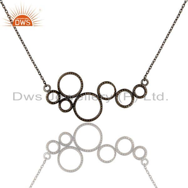 Exporter Black Oxidized with Spessartite 925 Sterling Silver Pendant Necklace