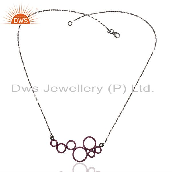Exporter Pink Sapphire round Circle Black Rhodium Plated Sterling Silver Necklace