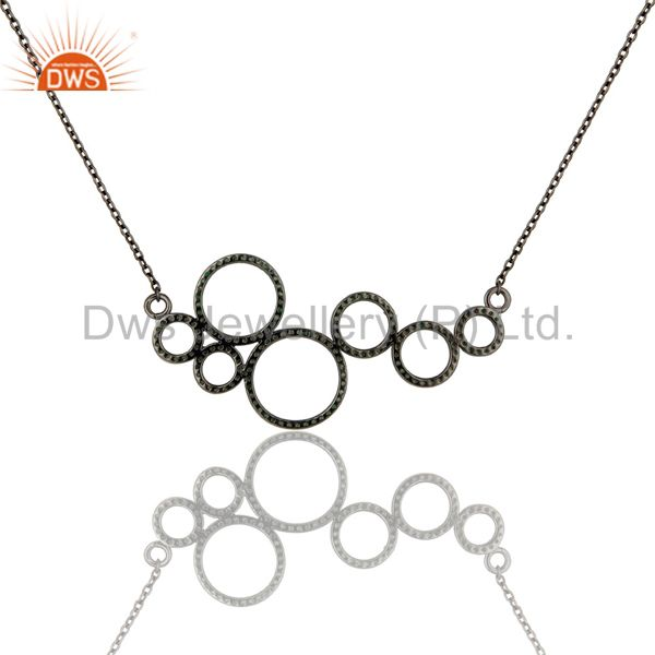 Exporter Black Oxidized with Tsavourite 925 Sterling Silver Pendant Necklace