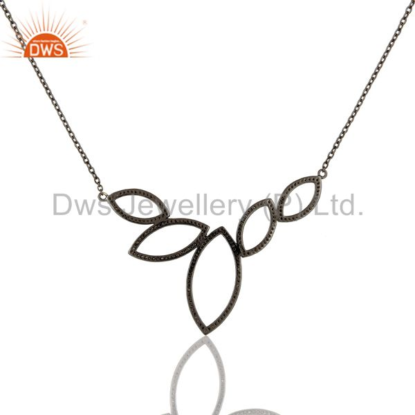 Exporter Black Oxidized with Diamond 925 Sterling Silver Pendant Necklace